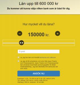 Låneansökning hos Apex Finans - låna pengar direkt online