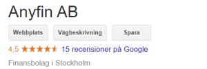 Anyfin omdöme Google