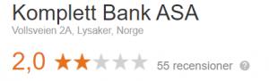 Komplett bank omdöme Google